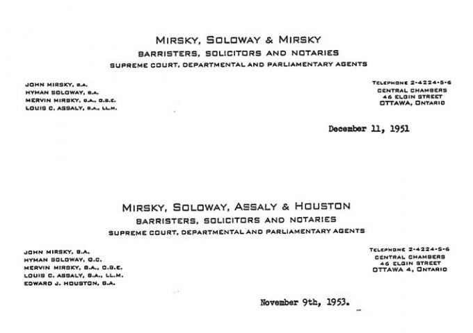 Two images of letterhead from Soloway Wright LLP in 1951 and 1953
