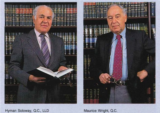 Colour images of lawyers Hyman Soloway and Maurice Wright in front of law books.
