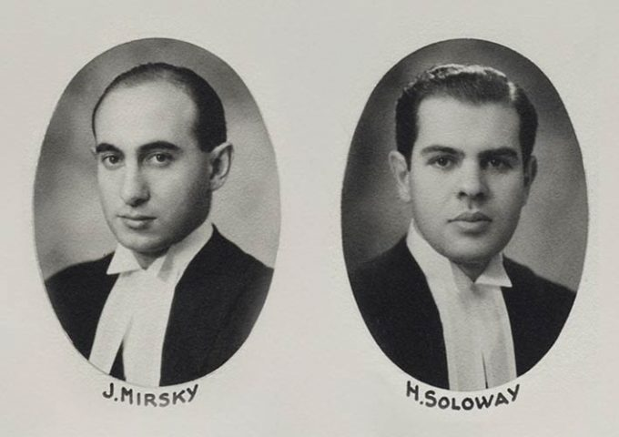 Black and white law school graduation portraits of Soloway Wright LLP founders Hyman Soloway and Jack Mirsky