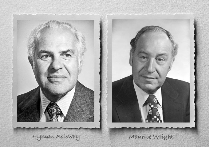 Black and white headshots of lawyers Hyman Soloway and Maurice Wright